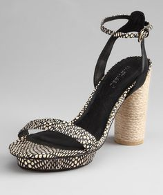 Black Python Carmen Leather Platform Sandal $79.99