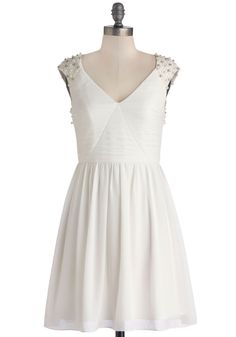 Always the Lady Dress. Whether you wear this winter-white party dress with demure peach tights and delicate heels or go edgy with black printed tights and silver booties, you lend ladylike loveliness to any soiree. #white #bride #wedding #modcloth