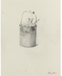 Andrew Wyeth - CRANBERRY BUCKET, STUDY FOR CRANBERRIES/1966