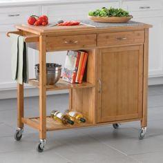 Linon Home Bamboo Kitchen Island - BedBathandBeyond.com no stool potential  we can remove the wheels