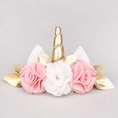 unicorn felt flower headband - Perfect for a unicorn birthday party