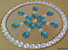 Transparent Kundan Rangoli in Blue - DIY Thali Decoration Ideas, Diy Diwali Decorations, Hobbies And Crafts, Arts And Crafts, Old Cd Crafts, Acrylic Rangoli, Diwali Craft, Diwali Diya, Easy Drawings For Beginners