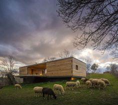Holzpavillon wohnhaus-flachdach beton-fundament am hang
