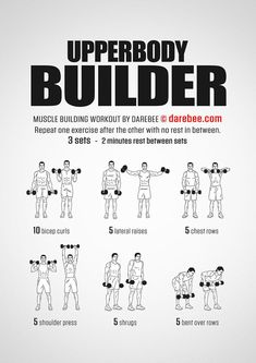 Upperbody Builder Workout – Fitness&Health&Gym For Women Fitness Workouts, Weight Training Workouts, Gym Workout Tips, Workout Challenge, Workout Plans, Workout Men, Men Exercise, Body Workouts, Workout Videos