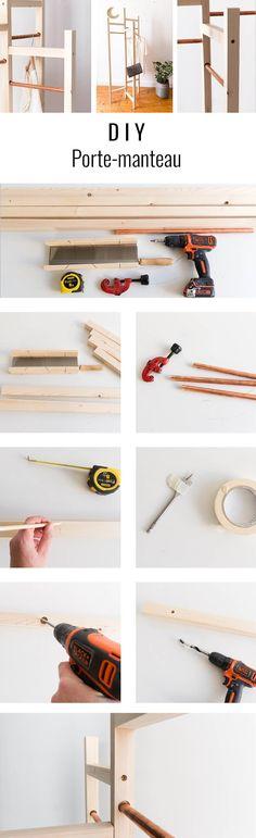 DIY porte-manteau Diy Rangement, Bois Diy, Building Plans, Dressing Room, Diy Furniture, Hanger, Diy Wood, Alice, French