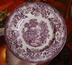 Purple Transferware Tonquin Plate Scenic Sailboat Swans and Roses Clarice Cliff Staffordshire Vintage