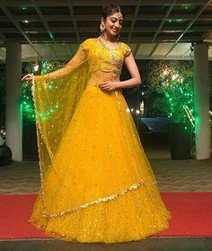 Buy Yellow Color Lehenga by Akanksha Singh at Fresh Look Fashion Bridal Mehndi Dresses, Indian Bridal Outfits, Indian Bridal Lehenga, Indian Gowns Dresses, Indian Designer Outfits, Indian Beauty Saree, Choli Designs, Lehenga Designs, Yellow Lehenga