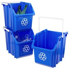 These bins are wonderful! They're stackable, light-weight, and even have handles.  Plus, I love that I can easily separate our recycling to make trips to the local recycling center quicker. :) Recycling Station, Recycling Storage, Closet System, Custom Shelving, Container Store, Trash Bins, Pick Up In Store, Custom Closets, Closet Shelves