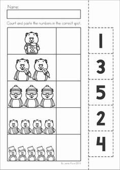 Groundhog Day Preschool Math and Literacy No Prep worksheets and activities. A page from the unit: counting cut and paste