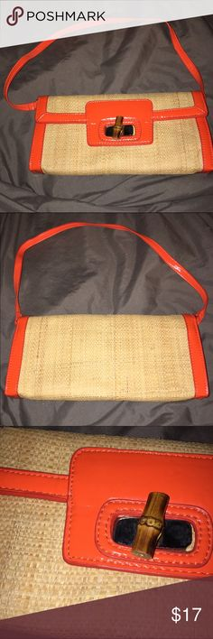 """NEW woven purse Fun woven purse with detachable shoulder strap. Faux bamboo closure, silver tone accents. Polyurethane orange faux patent leather with beige weave. Fabric interior. BRAND NEW NEVER USED, guess I removed the tag. 11"""" X 5-1/2"""". SR Squared by Sondra Roberts Bags Mini Bags"""