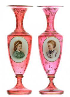 Pair of Bohemian Cranberry Glass Portrait Vases