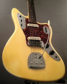 A closet find! This 1965 Fender Jaguar is in excellent condition! The perfect way to end this - Guitar Pins, Music Guitar, Acoustic Guitar, Fender Jaguar, Types Of Guitar, Beautiful Guitars, Fender Guitars, Conditioner, Porn