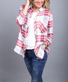 Look what I found on #zulily! Red Plaid Button Down Shirt - Women #zulilyfinds