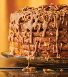Caramel Apple Stack Cake: this cake looks like it would take forever to make, but the longest part of the recipe is actually leaving it overnight to let the flavors come together. Really good. I don't have 7 cake pans, so had to do the cake in 2 batches. The secret to the intense flavor is the dried apples in the filling - I have subbed chai tea and apple cider  for the water and it tasted incredible. The caramel is as good as it looks. Worth the effort. 10/10 RUTH YEAMAN.