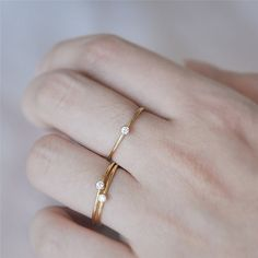 7a9006d41 BOAKO Fashion Gold Filled Copper Thin Ring With Shining Crystal Rings Bague  For Women Jewelry Anti