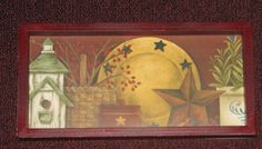PRIMITIVE COUNTRY BARN STAR POTTERY  FRAMED WALL DECOR  #HANDCRAFTED #PRIMITIVECOUNTRY Frame Wall Decor, Framed Wall, Frames On Wall, Primitive Wall Decor, Primitive Country, Primitives, Barn, Poster Prints, Pottery