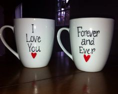 Couples Coffee Mug I Love You Forever and Ever by TulaTinkers, $16.00