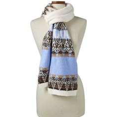 Lands' End Women's Winter Fair Isle Scarf ($39) ❤ liked on Polyvore featuring accessories, scarves, blue, lands end scarves, blue scarves, lands' end and blue shawl
