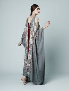 Meng AW14 luxury loungewear - Cherry Blossom print - silk georgette gown - grey