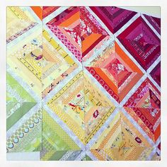 Scrappy Rainbow String Blocks In Progress | The strips in th… | Flickr