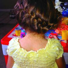 Braided updo idea for flower girl hair