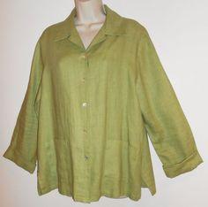 Comfy USA L Large 100% Linen Jacket Shirt Green Pockets Lagenlook 1104 #ComfyUSA #Linen #Lagenlook #Jakcet #Green