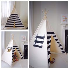 Handmade Cotton Striped Canvas Teepee with Window by All Things Brighton Beautiful. Our teepee tents create the perfect setting for a bright future of imaginative play. Kids Tents, Teepee Kids, Little Girls Playroom, Kids Room, Diy Projects For Kids, Diy For Kids, Baby Decor, Kids Decor, Diy Tipi