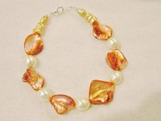 Coral and pearl bead bracelet by jeannare on Etsy, $9.00
