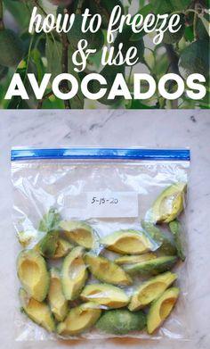 Avocado Uses, Fresh Avocado, Ripe Avocado, Avocado Recipes, Freezing Fruit, Freezing Vegetables, Fruits And Veggies, Freezing Smoothies, Fresh Vegetables