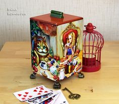 Alice in Wonderland, The mad tea party, wooden box, decoupage box