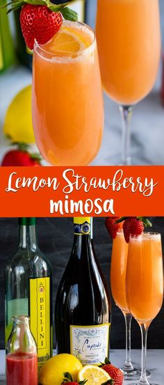 A Lemon Strawberry Mimosa has fresh strawberry puree and limoncello mixed with champagne! It's the perfect Bellini or mimosa to start your day. This is the drink you need to make right now!