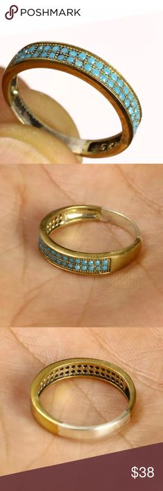 """💠TURQUOISE BAND (RING)•925K STERLING & BRONZE💠 💠TOPAZ & TURQUOISE•925K STERLING SILVER & BRONZE •  RING  SIZE 6 • 💠💛💠                  Material is .925 Sterling Silver and Bronze.       The stones are TURQUOISE. This Ring is 1.58 grams. Head size is 0.16"""".         Ring Size is 6            Hallmarked with the 925 stamp. Made in EUROPE with High Quality Workmanship! 💠 Jewelry Rings"""