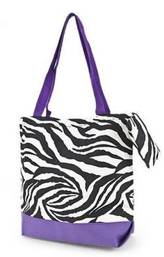Zebra Print Tote Bag Purple Trim Large: Price: $13.02. ZEBRA + PURPLE + inexpensive = MUST HAVE