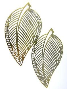 2pcs Antique Brass Leaves Pendants Charms by FancyGemsandFindings, $3.00