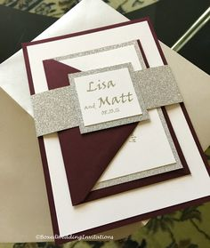 Our beautiful Lisa invitation suite in burgundy, off white and silver!   See more at www.boxedweddinginvitations.com   #wedding #invitation #invitations #invitaciones #invitationcard #weddinginvitation