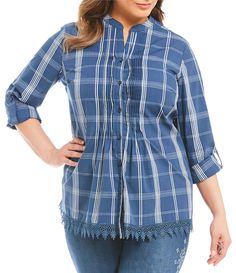 e79c85f0886 Allison Daley Plus Long RollTab Sleeve Plaid Pintucked Button Front Shirt   Dillards Dillards
