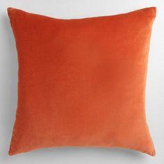 One of my favorite discoveries at WorldMarket.com: Orange Velvet Throw Pillow