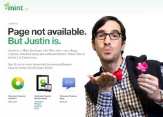 Mint's clever 404 error message.