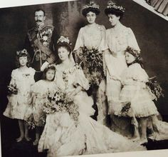 The wedding of Princess Alice (Daughter of Leopold of Albany; Son of Queen Victoria) and Prince Alexander in 1904. The bridesmaids were (Back row) Princess Margaret and Princess Patricia of Connaught, and (front row) Princess Mary of Wales, daughter of George V; Princes Helen of Waldeck–Pyrmont, the bride's first cousin; and Princess Mary of Teck, The bridegrooms niece.