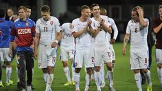 Czech Republic celebrate qualification for UEFA EURO 2016 after their victory against Latvia