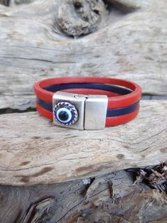 Men's Evil Eye Bracelet Red and Blue Thick Leather | Etsy Evil Eye Jewelry, Red Jewelry, Evil Eye Bracelet, Jewelry Shop, Jewellery, Thick Leather, Leather Cuffs, Leather Men, Fashion Shops
