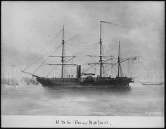 "The first ""USS Powhatan"" was a sidewheel steam frigate in the U.S. Navy during the American Civil War.   She was one of the last, and largest, of the U.S. Navy's paddle frigates, and was a screw frigate of the East India Squadron and commanded by Commodore William J. McCluney.  Powhatan and Rattler (commanded by Commodore William Fellowes and manned by 180 officers and crew) fought in and won the battle of Ty-ho Bay against Chinese pirates.  It was one of the first British-American joint…"