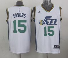 Utah Jazz #15 Derrick Favors Revolution 30 Swingman 2014 New White Swingman Jersey