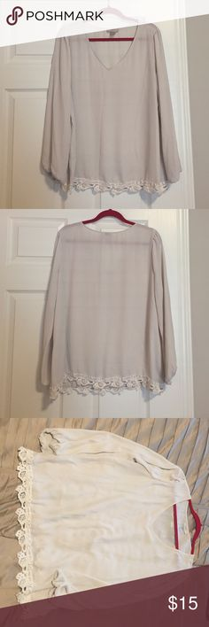 White Loft Top White top from Loft. Sleeves are elastic so they stretch. Great condition LOFT Tops Blouses