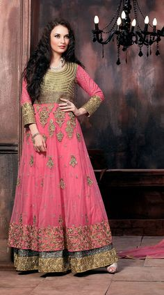 Pretty Pink Net Designer Double Layered Anarkali Suit