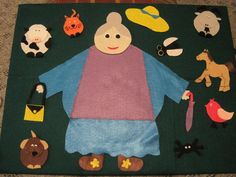 """There was an old lady who swallowed a fly"" DIY felt board pieces"