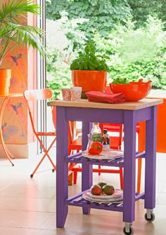 make cart and paint to complement curtains - for between kitchen and family room - double as end table? Tropical Kitchen, Orange Kitchen, Purple Rooms, Purple Themes, Ikea Furniture, Painted Furniture, Furniture Ideas, Tropical Outdoor Decor, Key West Style
