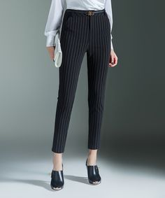 Another great find on #zulily! Black Pinstripe Taper Pants by Birryshop #zulilyfinds