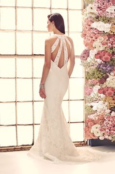 Gown 1914 | 2014 Fall Collection | Mikaella Bridal | Available Colours : Pearl & Natural | Shown with Low back & Cut Out details (back)