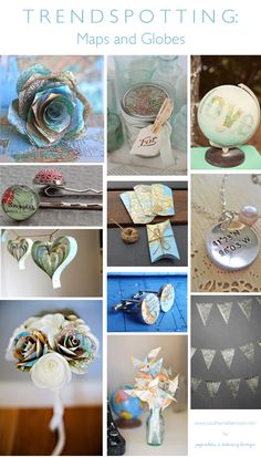 Great crafty ideas for a map, atlas, globe inspired wedding collected by Paperwhites.  From touches in the cufflinks, to a great paper bouquet. Centerpiece, favor, bunting ideas...so much cool stuff!